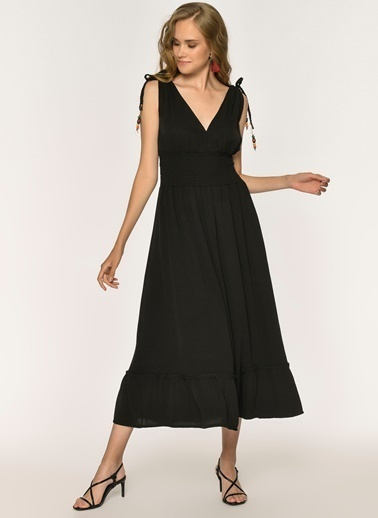 Loves You Boncuk Detaylı  V Yaka Maxi Krinkıl Elbise Siyah